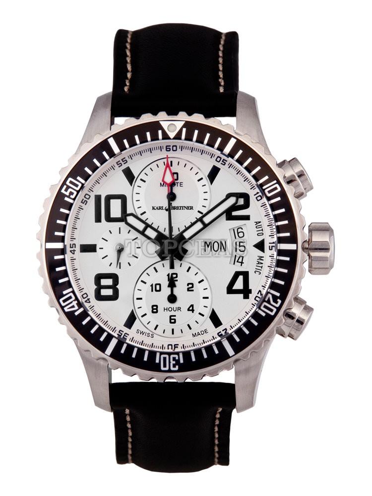 TOP ceas   Detalii ceas Karl Breitner Aviator Steel Silver