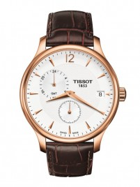 Poza ceas Tissot Tradition GMT Gold White