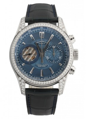 poza ceas Armand Nicolet L07 Venus Chronograph Steel Blue Diamonds