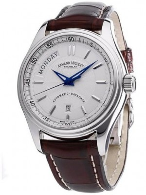 poza ceas Armand Nicolet M02 Day-Date Steel White Leather
