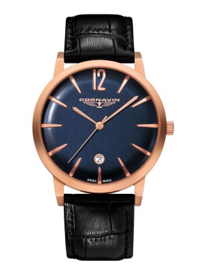 poza ceas Cornavin Bellevue Rose Gold Blue