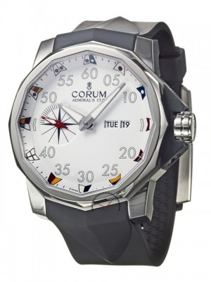 poza ceas Corum Admirals Cup Competition Steel White Rubber