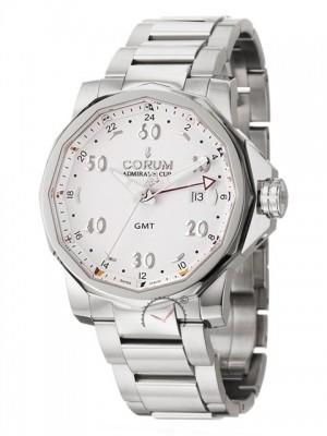 poza ceas Corum Admirals Cup GMT Steel White Bracelet