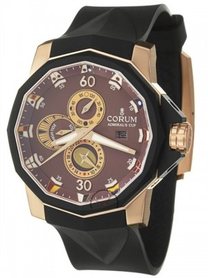poza ceas Corum Admirals Cup Rose Gold Brown