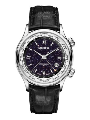 poza ceas Doxa Blue Planet GMT Steel