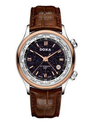 poza Doxa Blue Planet GMT Steel Rose Gold