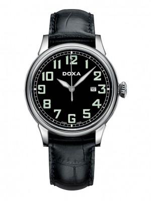 poza ceas Doxa Pilot Vintage Steel Black