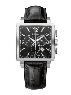 poza ceas Doxa Quadro II Chrono Steel Black