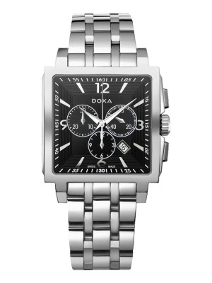 poza ceas Doxa Quadro II Chrono Steel Black 2