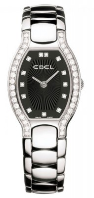 poza ceas Ebel Beluga Tonneau Diamonds Steel Black