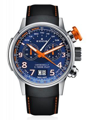 poza Edox Chronorally Xtreme Pilot Grossdatum Wochentag Chronograph Quarz 38001 TINO BUO3