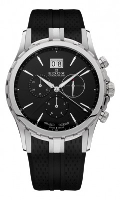 poza ceas Edox Grand Ocean Chronograph Steel Black