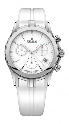 poza ceas Edox Grand Ocean Chronograph Steel White