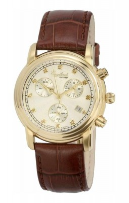 poza ceas Engelhardt Ira Diamond Gold White Brown Leather