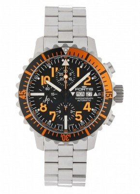 poza Fortis Aquatis Marinemaster Automatic Chronograph Orange 671.19.49 M