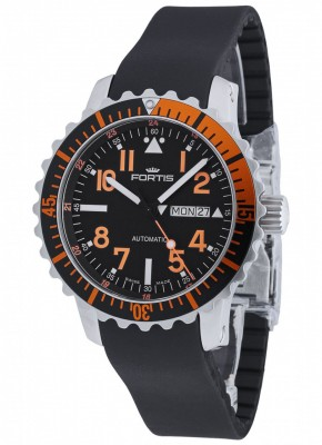 poza Fortis Aquatis Marinemaster DayDate Orange 670.19.49 K