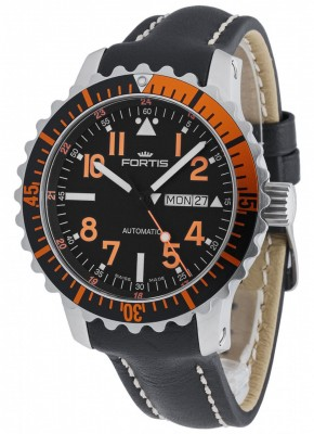 poza Fortis Aquatis Marinemaster DayDate Orange 670.19.49 L.01