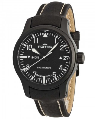 poza Fortis B42 Flieger Black Automatic DayDate Limited Edition 655.18.91 L.01