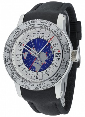 poza Fortis B47 World Timer GMT 674.20.15 L.01