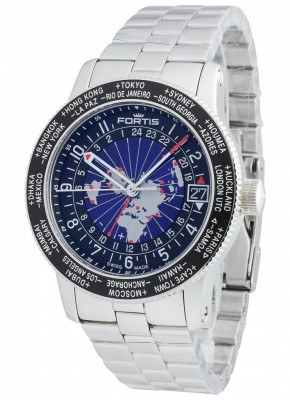 poza Fortis B47 World Timer GMT 674.21.11 M