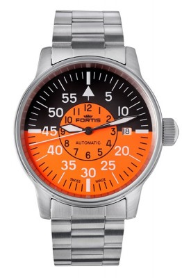 poza ceas Fortis Flieger Cockpit Orange Date 595.11.13 M