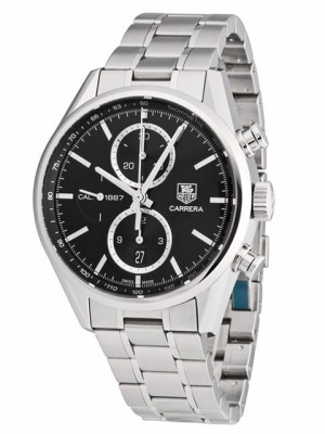 poza ceas Tag Heuer Carrera Chronograph Steel Black