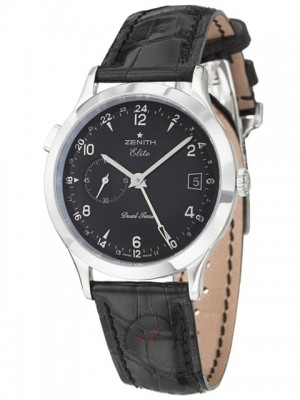 poza Zenith Class Elite Dual Time Steel Black