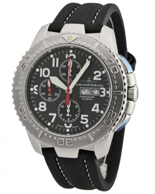 poza ceas Zeno Watch Basel Hercules Chronograph Steel Black