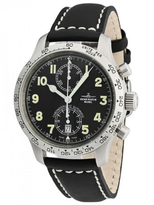 poza ceas Zeno Watch Basel Tachymeter Pilot Steel Black