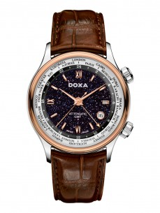 Ceas barbatesc Doxa Blue Planet GMT Steel Rose Gold
