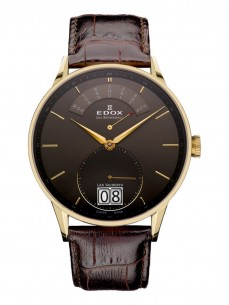 Ceas barbatesc Edox Vauberts Retrograde Gold Brown