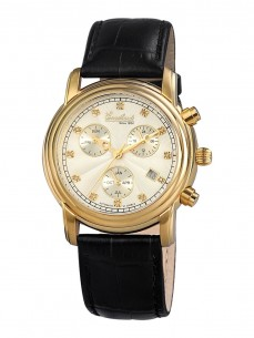Ceas barbatesc Engelhardt Ira Diamond Gold White Black Leather 2