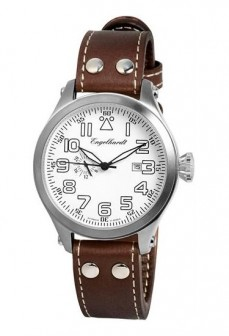 Ceas barbatesc Engelhardt James Steel White Brown Leather